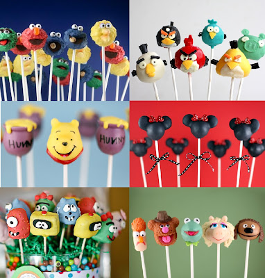 Character cake pops - Minnie Mouse, Sesame Street, Angry Birds, Muppets