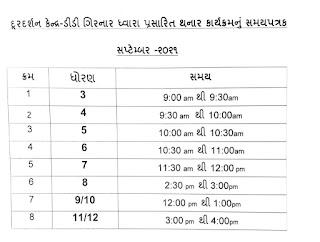 September Home learning Timetable for STD 3 To 12 on DD Girnar
