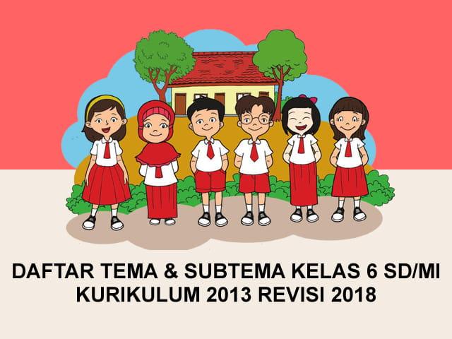 Daftar Tema dan Subtema Kelas 6 SD/MI Kurikulum 2013 Revisi 2018