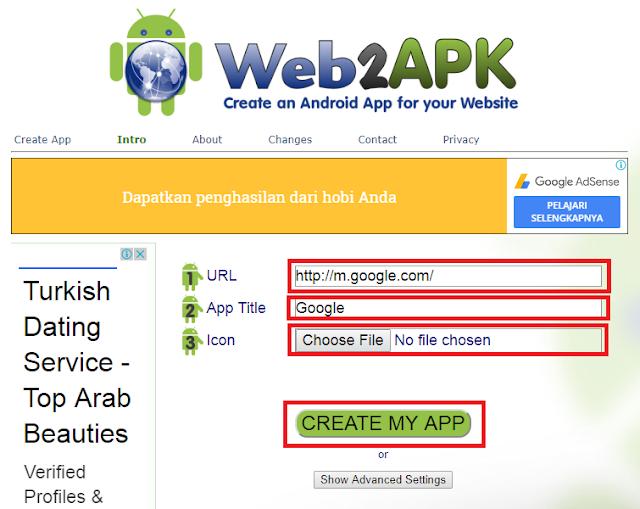 Sesuaikan URL, App Title, dan Icon Aplikasi pada web2apk