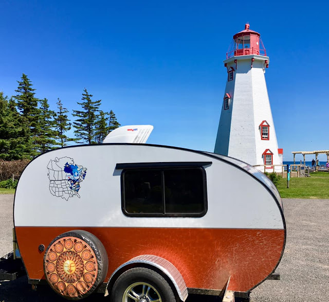 PEI lighthouse, tiny trailer camping