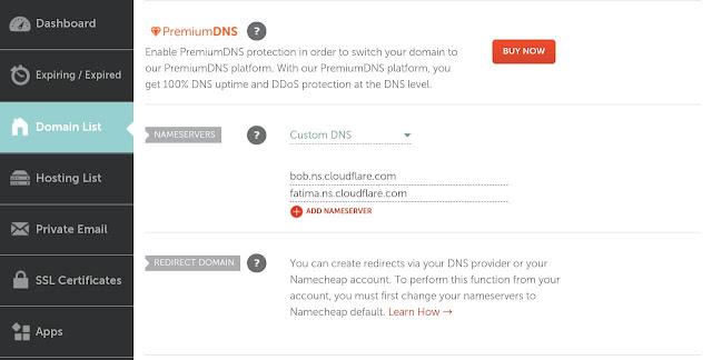 Update Cloudflare Nameservers in Namecheap