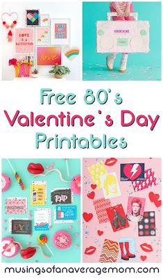 free 80s valentine's day printables