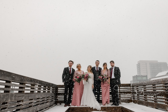 winter wedding toronto gladstone hotel pink bugundy bride bridesmaids bouquet