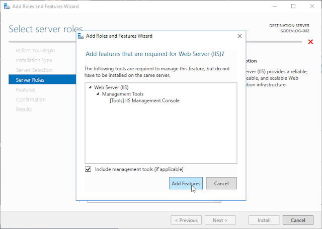 Wizard d'installation d'IIS sur Windows 10 Server Data Center - 2