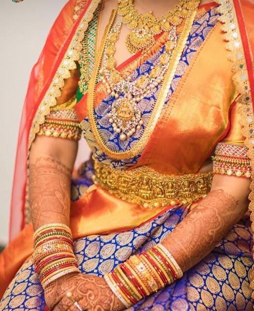 Bride in Parrot Necklace Vaddanam