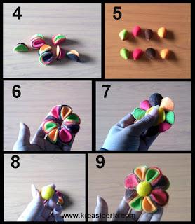 Tutorial aksesoris bunga warna-warni dari bahan kain flanel part 2