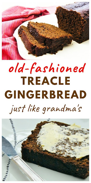 An old-fashioned moist, treacley gingerbread loaf. Just how grandma made it . Everyone loves this retro bake for a teatime treat, with coffee or for dessert. #gingerbread #retrocakes #loafcake #gingerbreadcake #easygingerbread #oldfashioncakes #oldfashionedbakes #ginger #cake