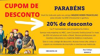Cupom de Desconto Unicesumar (20% de desconto da 2ª Mensalidade) !