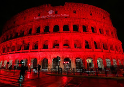 Rome's most famous landmark illuminated red expressing solidarity with Asia Bibi.