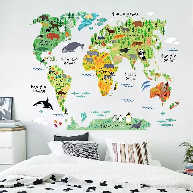 تزيين جدار غرفة نوم الاطفال بخريطة العالم