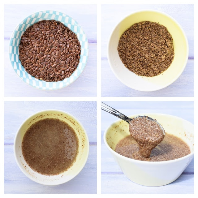 step by step photos showing how to make flax eggs