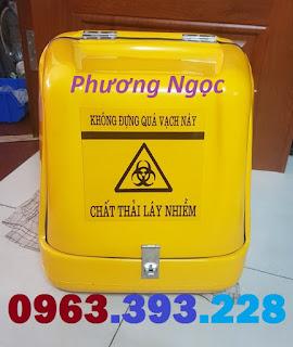 Thùng chở chất thải y tế, thùng vận chuyển rác thải lây nhiễm, thùng chở rác y tế sau xe máy