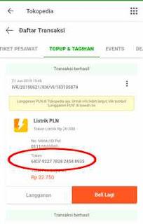 transaksi sukses pembelian token PLN tokopedia