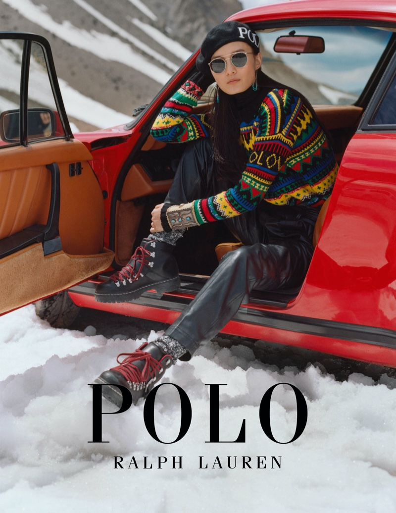 Chunjie Liu poses for Polo Ralph Lauren Holiday 2019 campaign