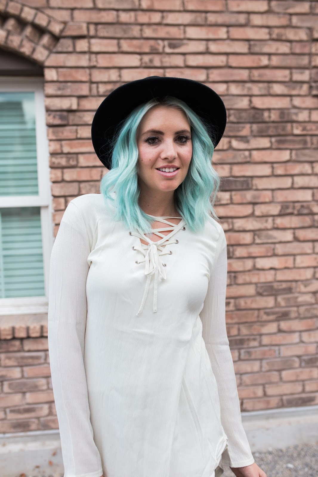 Lace Up Tunic, Blue Hair, Modest