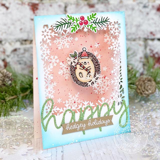 Sunny Studio Blog: Handmade Hedgehog Holiday Christmas Card by Leanne West (using Hedgey Holiday Stamps, Layered Snowflake Frame Die & Happy Word Die)