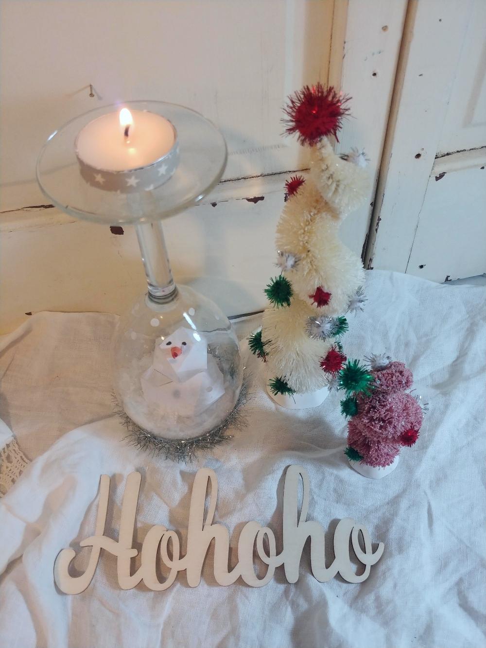 wine glass snow globe/candle holder