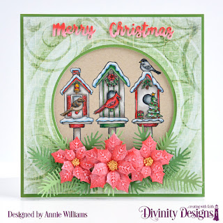 Stamp Set: Christmas Birdhouses, Paper Collection: Christmas 2018, Custom Dies:  Holiday Words, Pierced Circles, Peaceful Poinsettia, Pine Branches