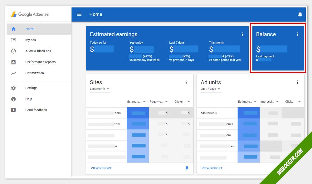 fungsi menu-menu adsense - saldo pembayaran adsense