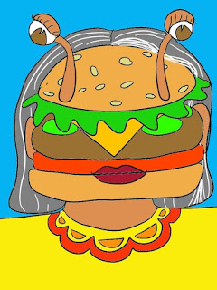 Child drawing of a person whose head is a hamburger