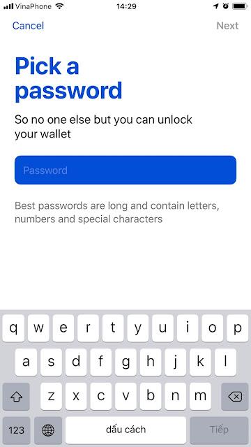 Mật khẩu đăng nhập ví MEWconnect