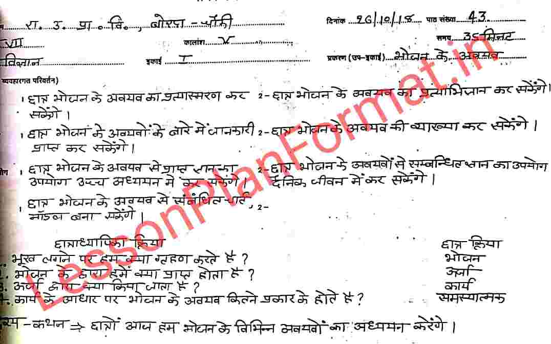 Science Lesson Plan in Hindi | Components of Food