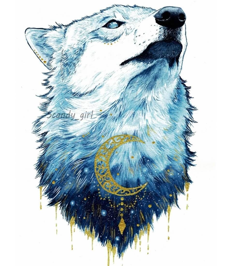 09-Wolf-white-Jonna-Hyttinen-Blue-and-Gold-Fantasy-Animal-Watercolor-Paintings-www-designstack-co