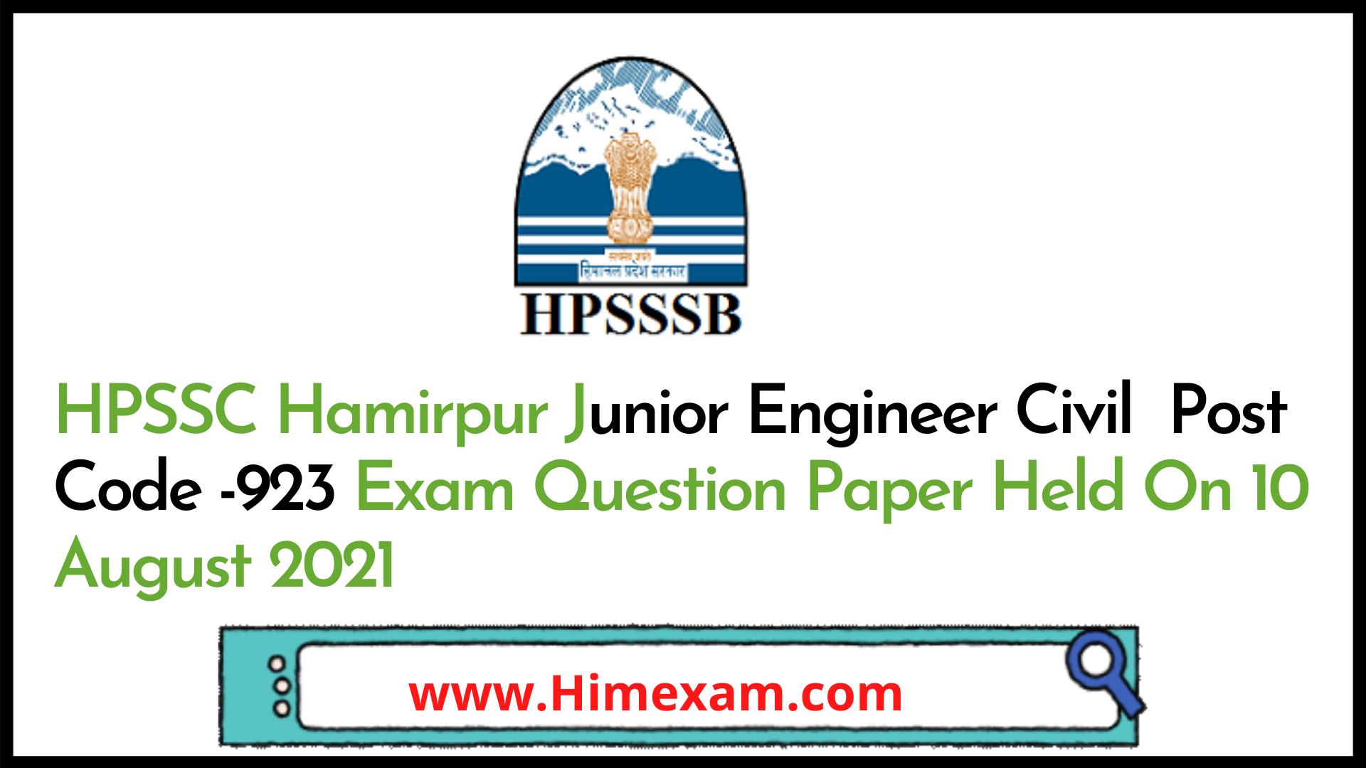 HPSSC Hamirpur Junior Engineer Civil  Post Code -923 Exam Question Paper Held On 10 August 2021