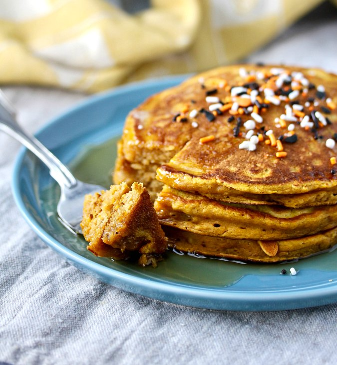 Pumpkin Pancakes with sprinkles