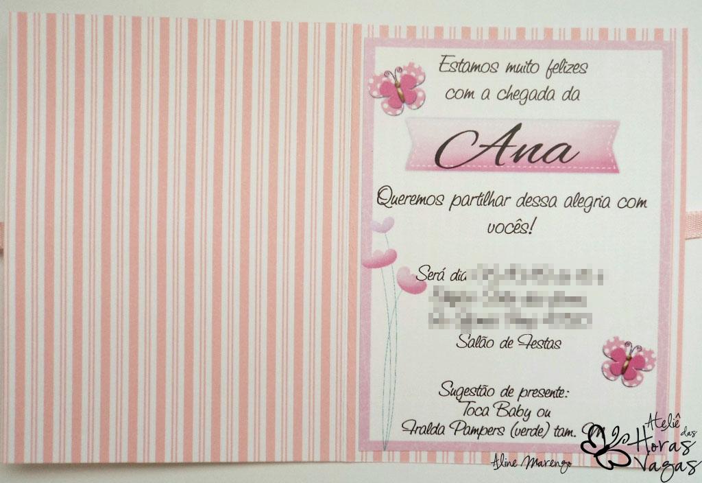 convite artesanal aniversário chá de bebê jardim floral borboletas rosa menina