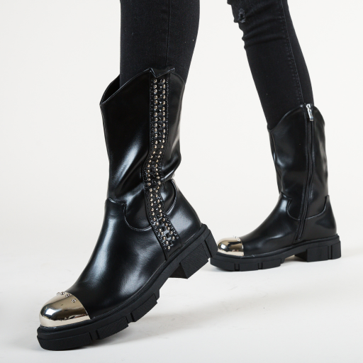 Ghete fashion inalte negreu cu insertii aurii la moda