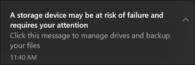 إشعار فشل جهاز التخزين على نظام التشغيل Windows 10.