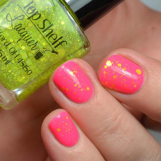 neon yellow glitter nail polish