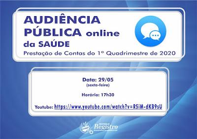 Saúde de Registro-SP presta contas do 1º quadrimestre de 2020 em Audiência Pública Online