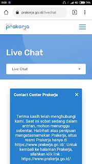 Maka akan muncul halaman live chat prakerja. Disana anda akan berkomunikasi dengan salah satu tim prakerja. Silahkan anda jelaskan kendala anda dan beritahukan bahwa anda sudah memperbaiki ewallet anda.