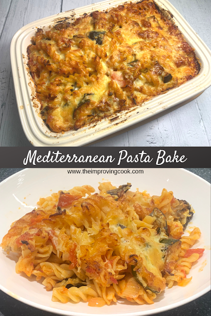 Mediterranean Pasta Bake 2 images and text overlay
