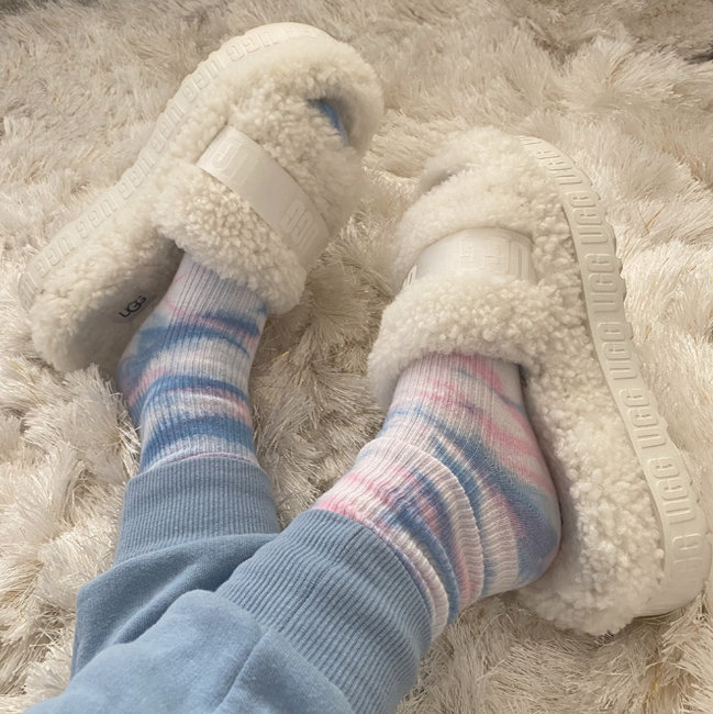 ugg fluffita slippers with tie dye socks