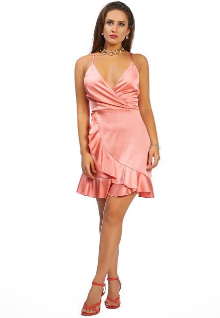 Satin Ruffle Party Dress