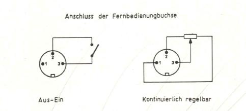 Anschluss der Fernbedienungsbuchse aus dem Echolette NG51 Handbuch