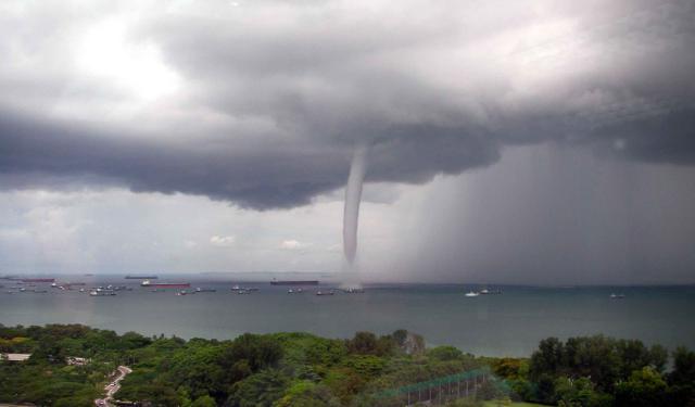 Waterspout or Water Tornado. Waether Phenomena 2016