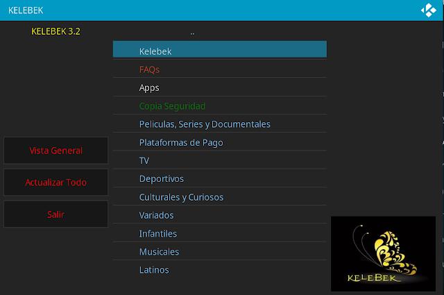 Addon KELEBEK 3.2 para Kodi