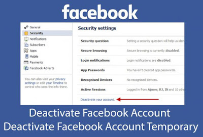 Deactivate Facebook Account – Deactivate Facebook Account Temporary