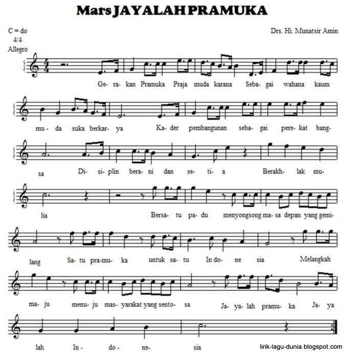 Notasi - Not Angka Mars Pramuka