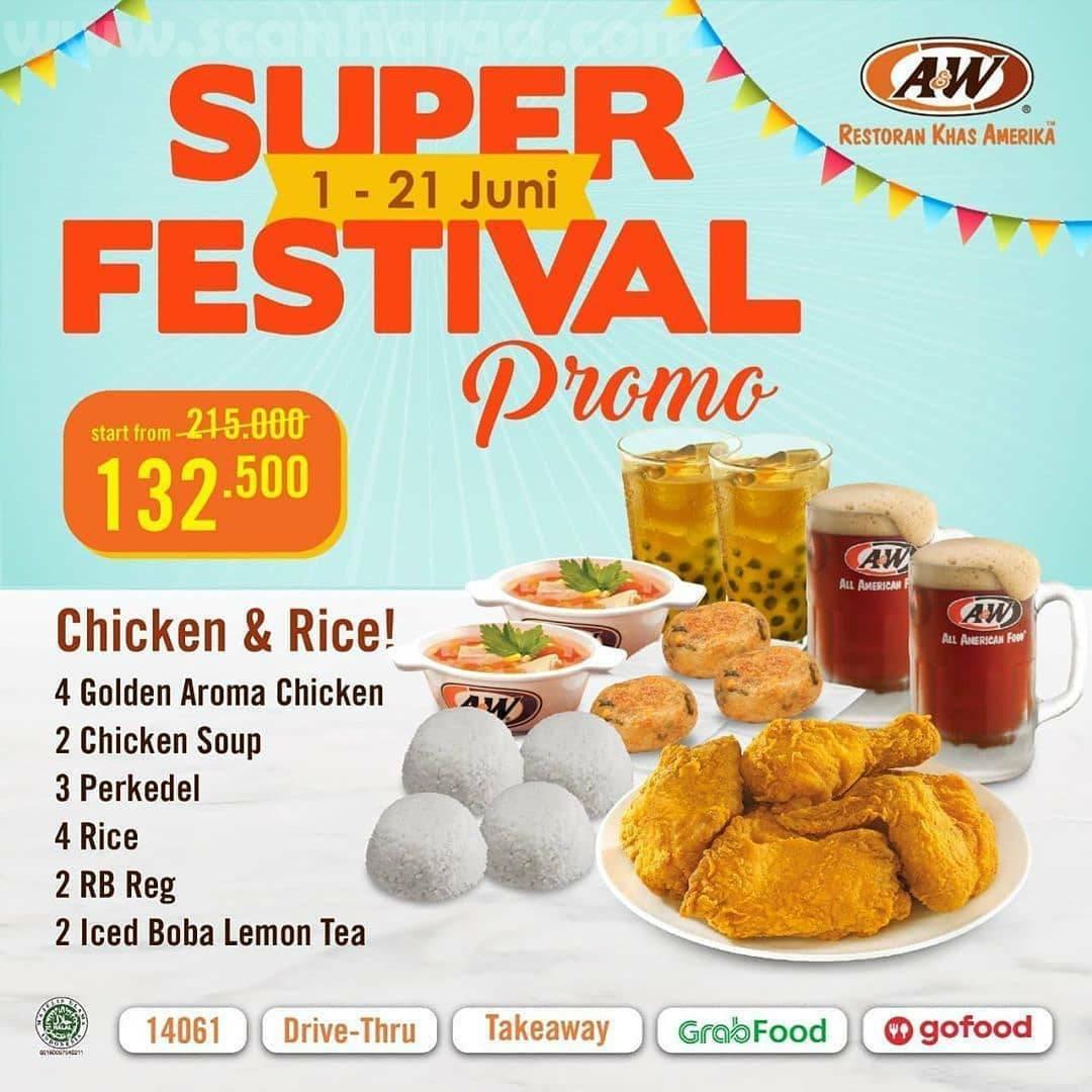 A&W Super Festival Promo Harga Spesial Periode 1 - 21 Juni 2020