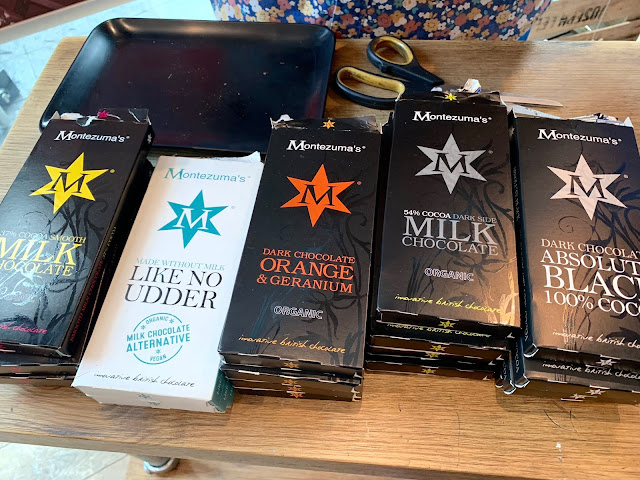 5 Montezuma's Chocolate bars including Like No Udder, Dark Chocolate orange & Geranium and 100% Absolute Black
