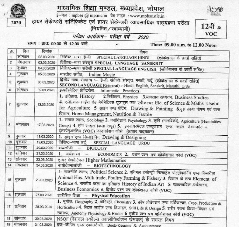 mp-board-10th-12th-time-table-2020-mp-board-10th-and-12th-timetable-released-on-mpbse-nic-in