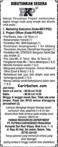 Lowongan Kerja PT. Putera Karyasindo Prakarsa (Nopember 2016)