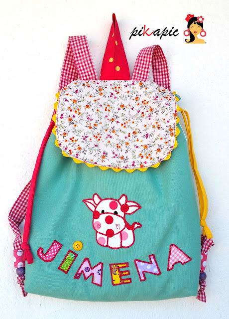 Mochila infantil personalizada Jimena. Pikapic