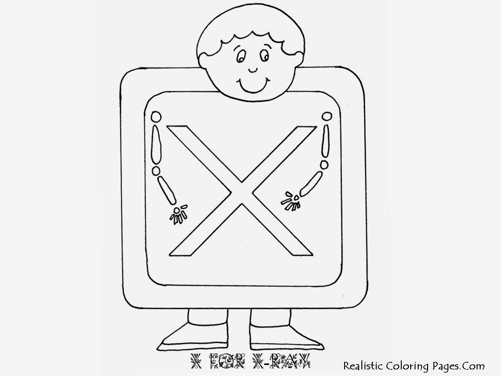 Alphabet Coloring Pages X FOR X-RAY